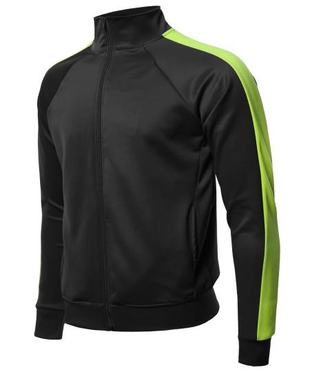 Men's Premium Quality Shoulder Panel Zip-Up Track Jacket