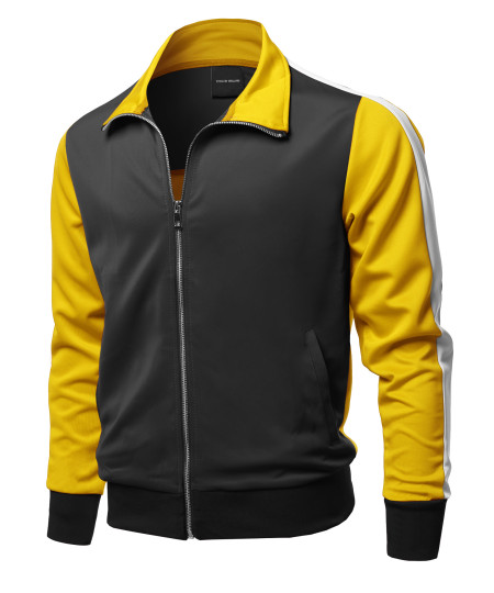 Men's Casual Premium Quality Shoulder Panel Color Block Zip-Up Track Jacket