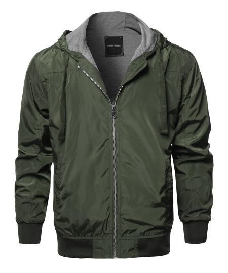 Men's Casual Comfortable Windbreaker Hooded Lightweight Zip Up Jacket