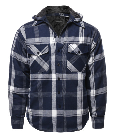 Men's Casual Detachable Hoodie Plaid Flannel quilted Button Jacket