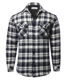 Men's Casual Plaid Flannel quilted Button Jacket
