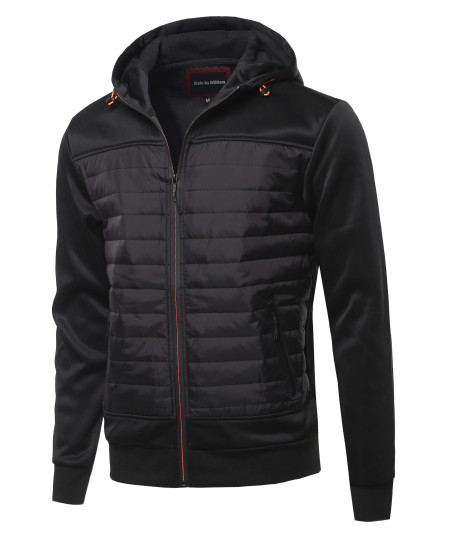 Men's Reverse coil color zipper Fleece lining padded Jacket