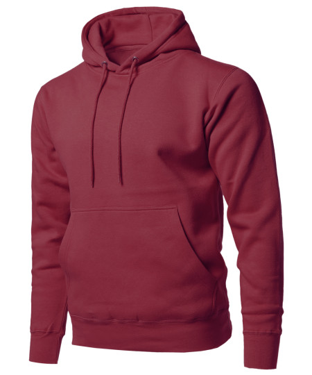 Men's Causal Solid Soft French Terry Long Sleeve Pullover Hoodie