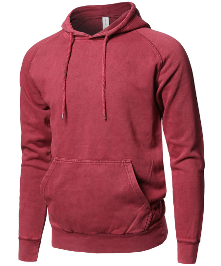 Men's Mineral Washed Raglan Long Sleeve French Terry Pullover Hoodie