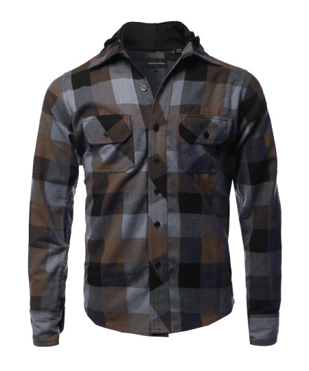 Men's Flannel Woven Long Sleeves Detachable Hood Button Down Shirt