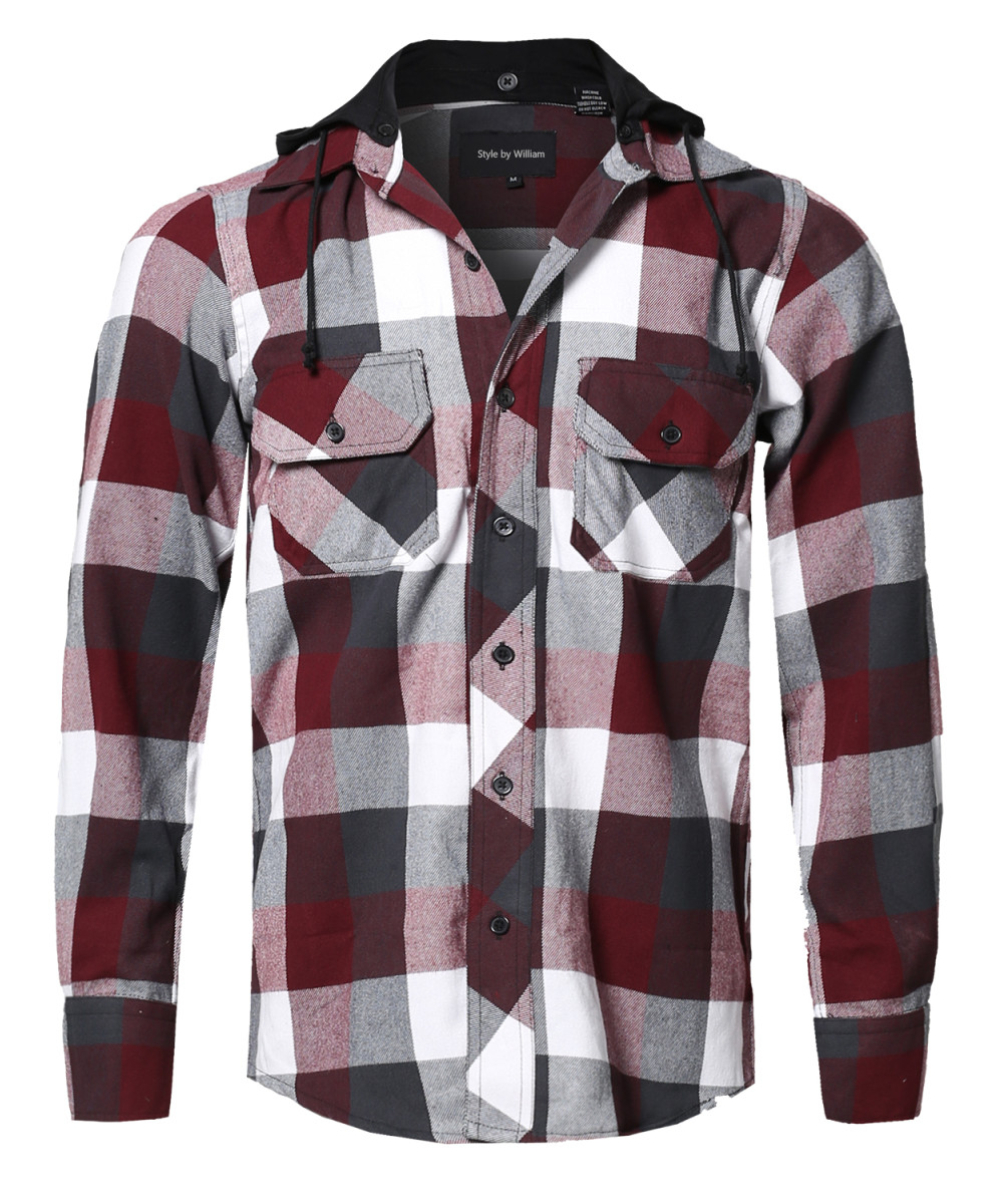Men's Flannel Woven Long Sleeves Detachable Hood Button Down Shirt ...