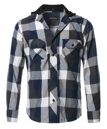 Men's Flannel Woven Long Sleeves Detachable Hood Button Down Shirt