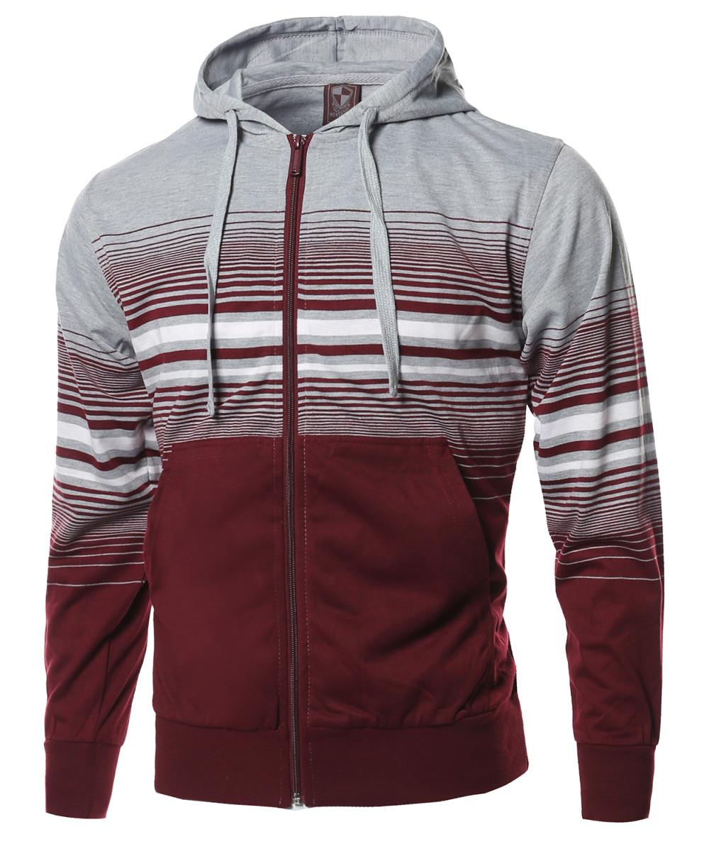 FashionOutfit Men/'s Basic Stripe Zip Up Kangaroo Pocket Hoodie Jacket