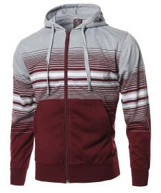 Men's Basic Stripe Zip Up Kangaroo Pocket Hoodie Jacket