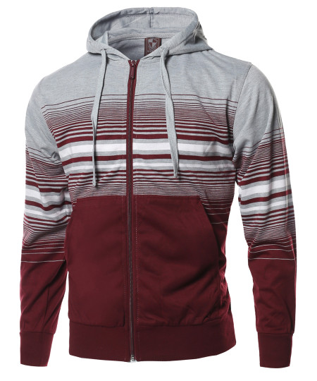 Men's Basic Stripe Zip Up Kangaroo Pocket Hoodie Jacket