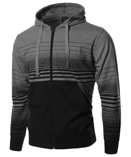 Men's Casual Stripe Zip Up Kangaroo Hoodie Jacket