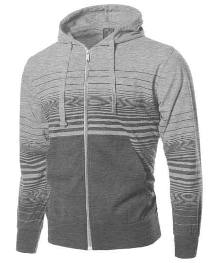 Men's Casual Stripe Zip Up Kangaroo Hoodie Jacket