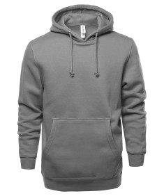 Men's Causal Solid Heavyweight Fleece Long Sleeve Hoodie