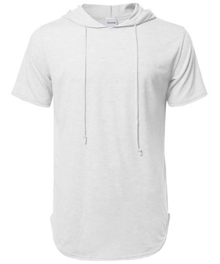 Men's Short Sleeves Long Lined Drawstring Hoodie