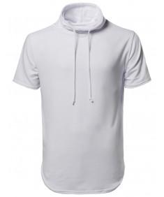 Men's Short Sleeves Cowl Neck Drawstring Hoodie