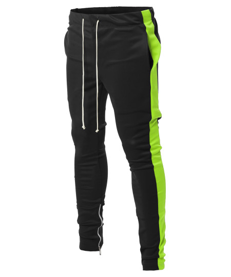 Men's Side Panel Long Length Drawstring Ankle Zipper Track Pants