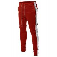 Men's Side Panel Long Length Drawstring Ankle Zipper Track Pants