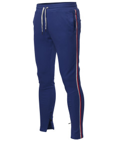 Men's Side Stripe Ankle Zipper Track Pants