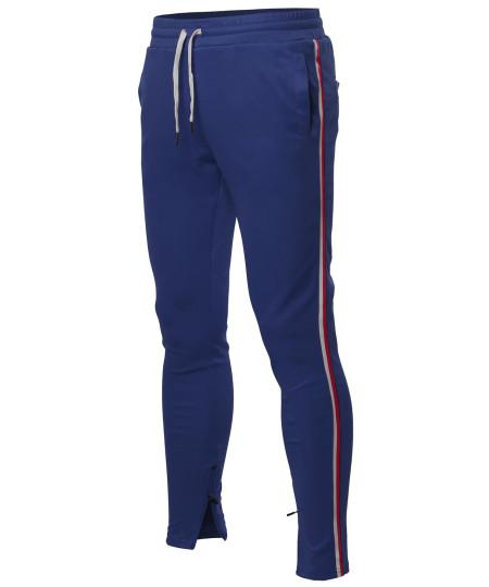 Men's Side Stripe Ankle Zipper Track Pants