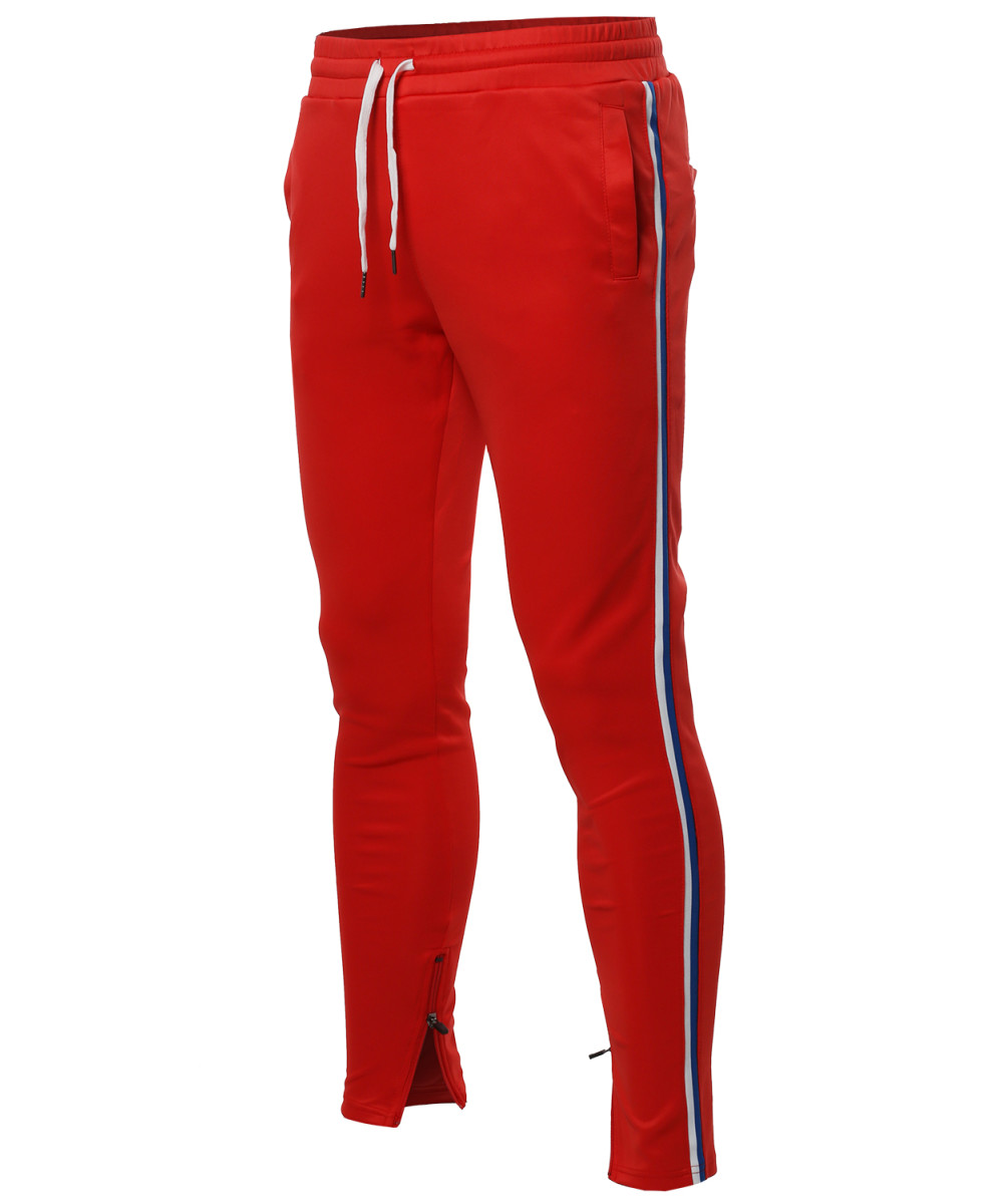 Men S Side Stripe Ankle Zipper Track Pants Fashionoutfit Com