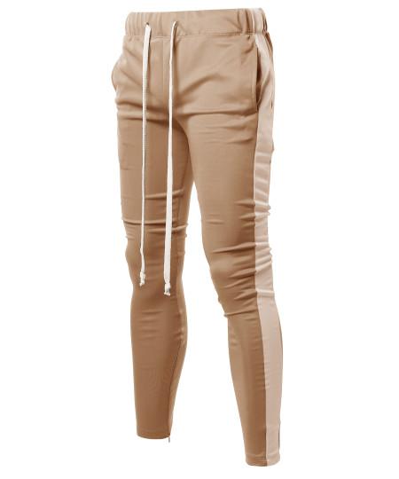 Men's Casual Side Panel Long Length Drawstring Ankle Zipper Track Pants