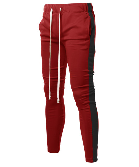 Men's Casual Side Panel Long Length Drawstring Ankle Zipper Track Pants