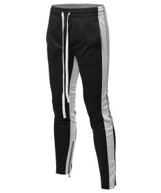 Men's Casual Side Panel Color Block Long Length Drawstring Ankle Zipper Track Pants