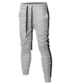 Men's Casual Side Panel Print Drawstring Two Back Pockets Track Pants