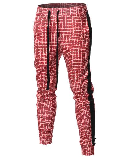 Men's Casual Side Panel Print Drawstring Two Back Pockets Track Pants