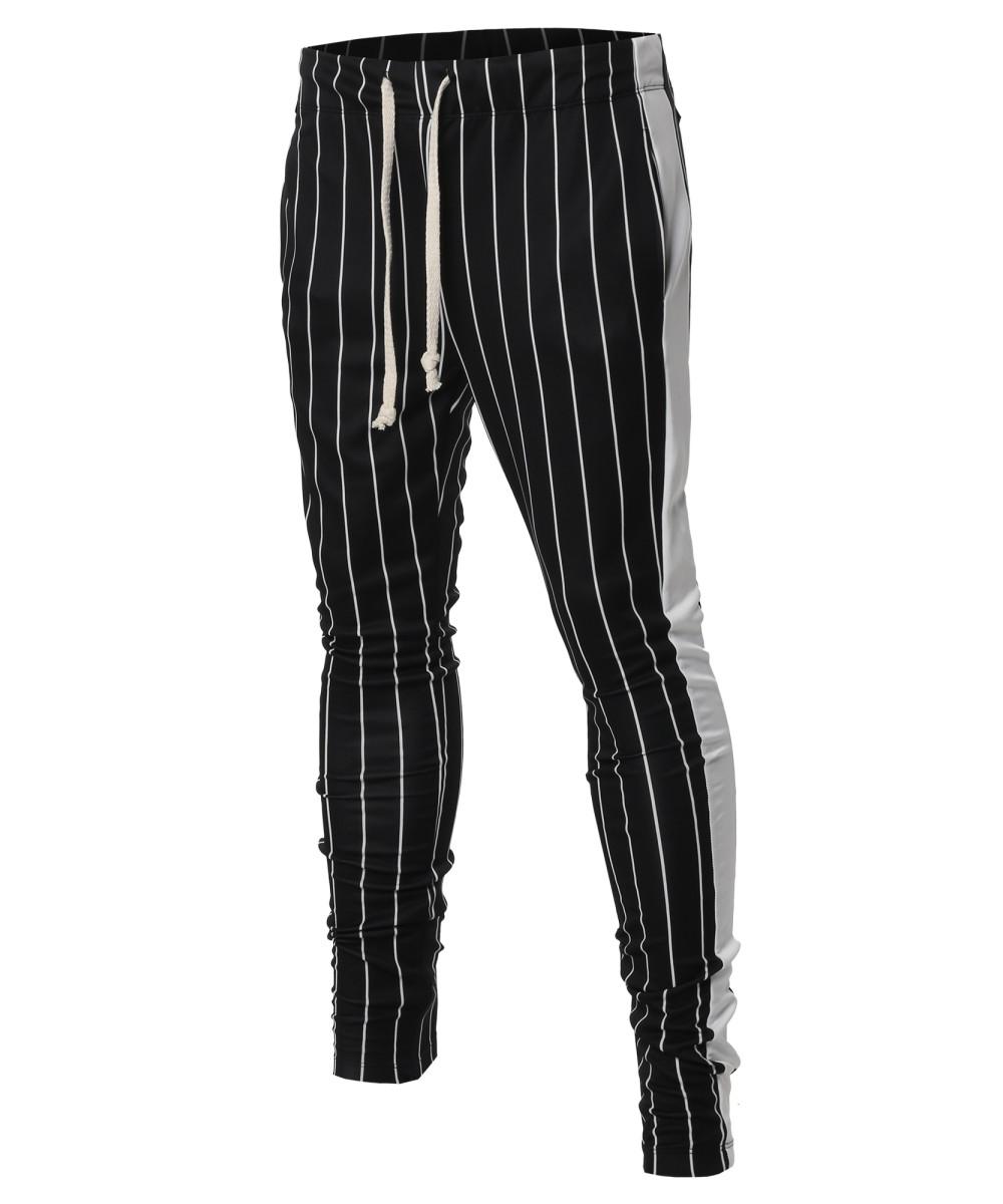 Men S Casual Side Panel Pin Stripe Drawstring Ankle Zipper