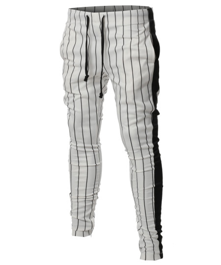 Men's Casual Side Panel Pin Stripe Drawstring Ankle Zipper Track Pants