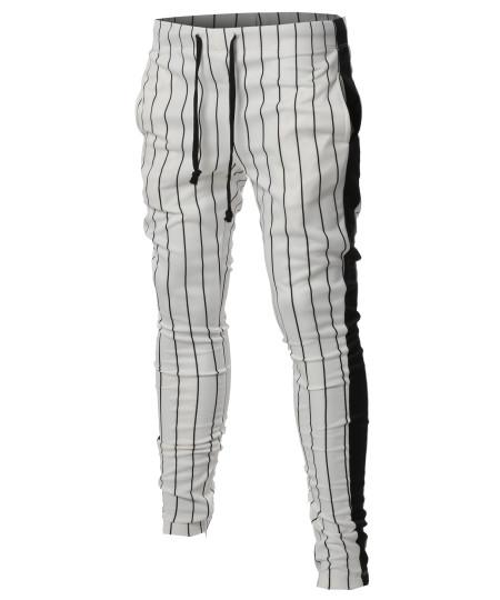 Men's Casual Side Panel Pin Stripe Drawstring Ankle Zipper Track Pants