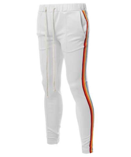Men's Casual Side Rainbow Panel Taped Ankle Zipper Track Pants