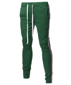 Men's Casual Side Rainbow Panel Taped Drawstring Track Pants