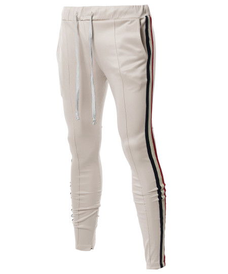 Men's Casual 3 Lined Zipper with Taped Ankle Zipper Track Pants