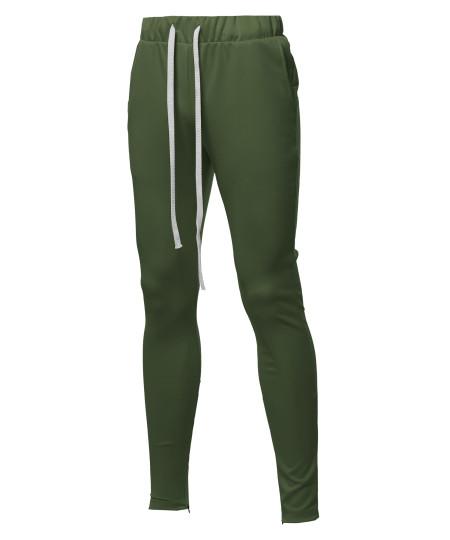 Men's Solid Long Length Drawstring Ankle Zipper Track Pants