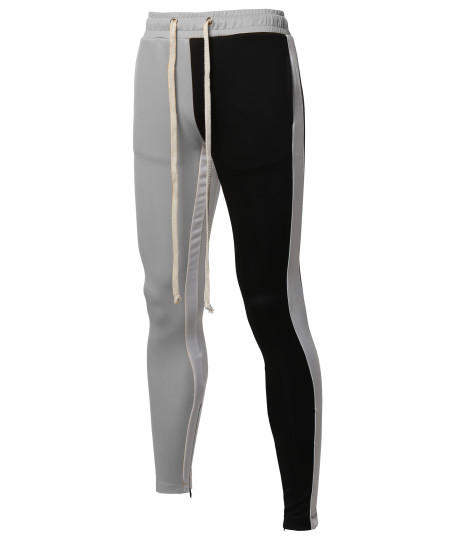 Men's Two Color Blocked Drawstring Ankle Zipper Track Pants