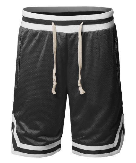 Men's Casual Active Sports Side pokets with Zipper Double Meshed Shorts