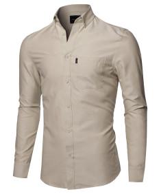 Men's Basic Button Down Collar Chambray Long Sleeve Shirt