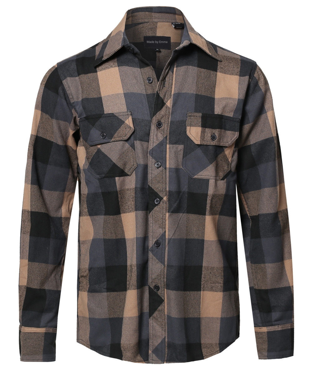 Men 39 S Casual Plaid Flannel Woven Long Sleeve Button Down