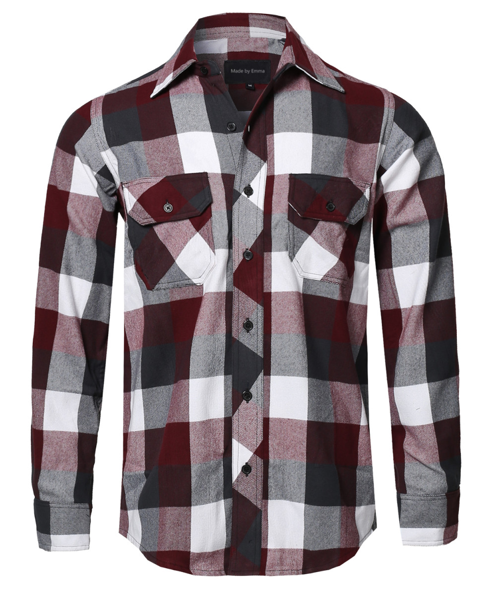 Men 39 s casual plaid flannel woven long sleeve button down for Mens casual plaid shirts
