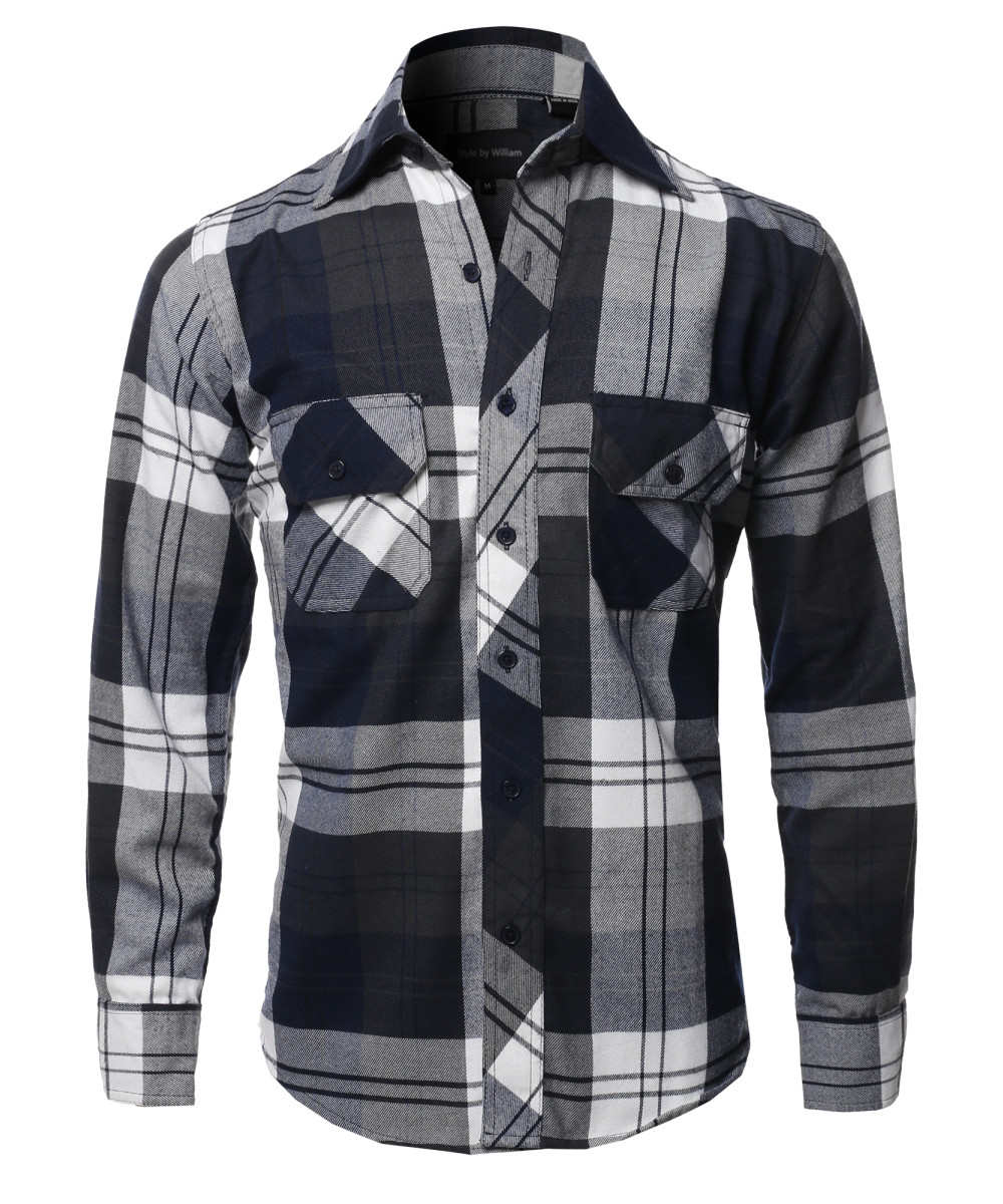 c1156d0744 Men's Casual Plaid Flannel Woven Long Sleeve Button Down Shirt ...