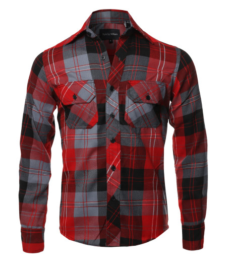Men's Casual Plaid Flannel Woven Long Sleeve Button Down  Shirt