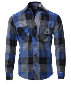 Men's Casual Plaid Flannel Woven Long Sleeve Button Down  Shirt