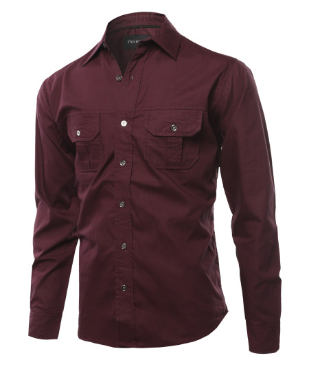 Men's Solid Casual Chest Pocket Long Sleeve Button Down Shirts