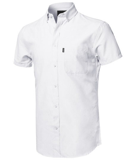 Men's Casual Basic Button-Collar Chambray Short Sleeve Shirt