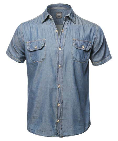 Men's Casual Solid Lightweight Short Sleeves Denim Shirt