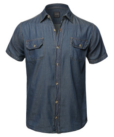 Men's Casual Solid Lightweight Short Sleeves Denim Shirt
