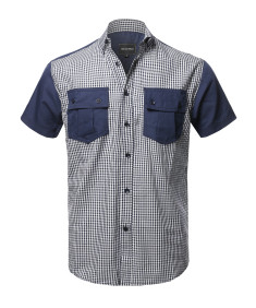 Men's Casual Patterned Button-Collar Front Two Pocket Short Sleeve Shirt