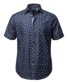 Men's Casual Cotton Floral Pattern Sleeve Pocket Short Sleeve Shirt